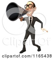 Clipart Of A 3d White Businessman Shouting Through A Megaphone 2 Royalty Free CGI Illustration