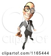 Clipart Of A 3d White Businessman Gesturing With A Finger Gun 4 Royalty Free CGI Illustration