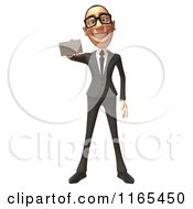 Clipart Of A 3d White Businessman Holding Out A Business Card Royalty Free CGI Illustration
