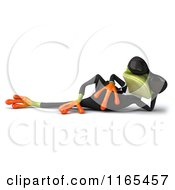Clipart Of A 3d Green Business Frog Wearing Sunglasses And Relaxing Royalty Free CGI Illustration