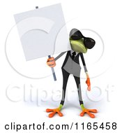 Clipart Of A 3d Green Business Frog Wearing Sunglasses And Holding A Sign Royalty Free CGI Illustration