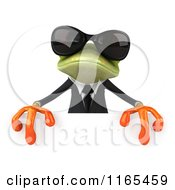 Clipart Of A 3d Green Business Frog Wearing Sunglasses And Holding A Sign 2 Royalty Free CGI Illustration