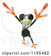 Clipart Of A 3d Green Business Frog Wearing Sunglasses And Jumping Royalty Free CGI Illustration