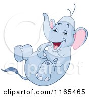 Cartoon Of An Elephant Rolling Around And Laughing Royalty Free Vector Clipart by yayayoyo