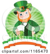 Cartoon Of A St Patricks Day Leprechaun Holding A Green Beer Over A Circle Of Rays And An Irish Banner Royalty Free Vector Clipart
