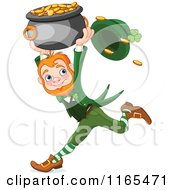 Cartoon Of A St Patricks Day Leprechaun Running With A Pot Of Gold Royalty Free Vector Clipart