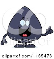Cartoon Of A Spade Card Suit Mascot With An Idea Royalty Free Vector Clipart by Cory Thoman
