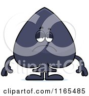 Cartoon Of A Depressed Spade Card Suit Mascot Royalty Free Vector Clipart by Cory Thoman