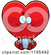 Cartoon Of A Red Heart Card Suit Mascot Holding Playing Cards Royalty Free Vector Clipart by Cory Thoman