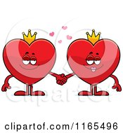 Cartoon Of King And Queen Red Heart Card Suit Mascots Holding Hands Royalty Free Vector Clipart