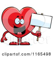 Happy Red Heart Card Suit Mascot Holding A Sign by Cory Thoman