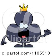 Cartoon Of A Waving King Club Card Suit Mascot Royalty Free Vector Clipart by Cory Thoman
