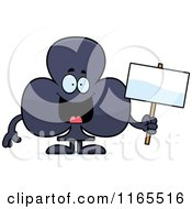 Cartoon Of A Club Card Suit Mascot Holding A Sign Royalty Free Vector Clipart by Cory Thoman