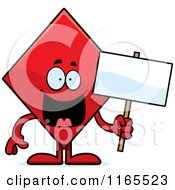 Cartoon Of A Diamond Card Suit Mascot Holding A Sign Royalty Free Vector Clipart by Cory Thoman