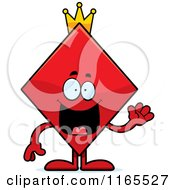 Cartoon Of A Waving King Diamond Card Suit Mascot Royalty Free Vector Clipart by Cory Thoman