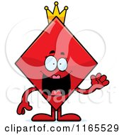 Cartoon Of A Waving Queen Diamond Card Suit Mascot Royalty Free Vector Clipart by Cory Thoman