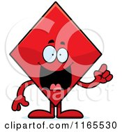 Cartoon Of A Diamond Card Suit Mascot With An Idea Royalty Free Vector Clipart by Cory Thoman