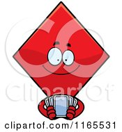 Cartoon Of A Diamond Card Suit Mascot Holding Playing Cards Royalty Free Vector Clipart by Cory Thoman