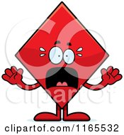 Cartoon Of A Scared Diamond Card Suit Mascot Royalty Free Vector Clipart by Cory Thoman