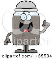 Cartoon Of A Pepper Shaker Mascot With An Idea Royalty Free Vector Clipart