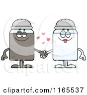 Cartoon Of Salt And Pepper Shaker Mascots Holding Hands Royalty Free Vector Clipart