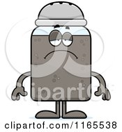 Cartoon Of A Depressed Pepper Shaker Mascot Royalty Free Vector Clipart