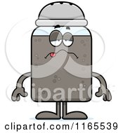 Cartoon Of A Sick Pepper Shaker Mascot Royalty Free Vector Clipart