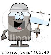 Cartoon Of A Pepper Shaker Mascot Holding A Sign Royalty Free Vector Clipart