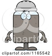 Cartoon Of A Surprised Pepper Shaker Mascot Royalty Free Vector Clipart