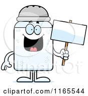 Cartoon Of A Salt Shaker Mascot Holding A Sign Royalty Free Vector Clipart