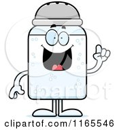 Cartoon Of A Salt Shaker Mascot With An Idea Royalty Free Vector Clipart