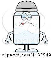 Cartoon Of A Sick Salt Shaker Mascot Royalty Free Vector Clipart