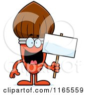 Cartoon Of A Paintbrush Mascot Holding A Sign Royalty Free Vector Clipart