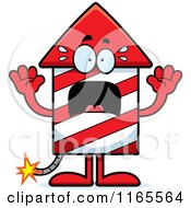 Cartoon Of A Scared Rocket Firework Mascot Royalty Free Vector Clipart