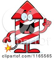 Cartoon Of A Rocket Firework Mascot With An Idea Royalty Free Vector Clipart