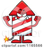 Cartoon Of A Mad Rocket Firework Mascot Royalty Free Vector Clipart