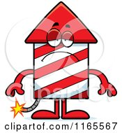 Cartoon Of A Depressed Rocket Firework Mascot Royalty Free Vector Clipart by Cory Thoman