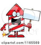 Cartoon Of A Rocket Firework Mascot Holding A Sign Royalty Free Vector Clipart