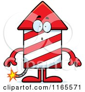 Cartoon Of A Surprised Rocket Firework Mascot Royalty Free Vector Clipart