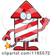 Cartoon Of A Waving Rocket Firework Mascot Royalty Free Vector Clipart