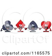 Club Diamond Spade And Heart Card Suit Mascots Holding Cards