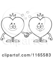 Cartoon Clipart Of King And Queen Heart Card Suit Mascots Holding Hands Vector Outlined Coloring Page
