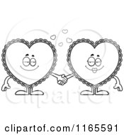 Cartoon Clipart Of Doily Hearts Holding Hands Vector Outlined Coloring Page