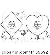 Cartoon Clipart Of Diamond And Heart Card Suit Mascots Holding Hands Vector Outlined Coloring Page