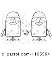 Cartoon Clipart Of Salt And Pepper Shaker Mascots Holding Hands Vector Outlined Coloring Page