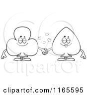 Cartoon Clipart Of Club And Spade Card Suit Mascots Holding Hands Vector Outlined Coloring Page