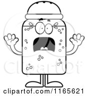 Cartoon Clipart Of A Scared Salt Shaker Mascot Vector Outlined Coloring Page