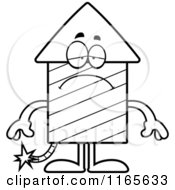 Cartoon Clipart Of A Depressed Rocket Firework Mascot Vector Outlined Coloring Page