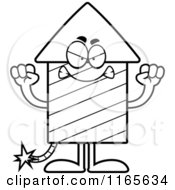 Cartoon Clipart Of A Mad Rocket Firework Mascot Vector Outlined Coloring Page
