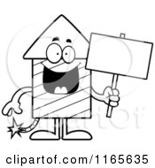 Cartoon Clipart Of A Rocket Firework Mascot Holding A Sign Vector Outlined Coloring Page